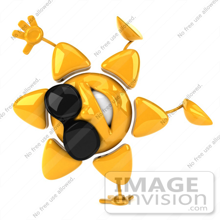 #51629 Royalty-Free (RF) Illustration Of A 3d Happy Yellow Sun Doing A Handstand by Julos
