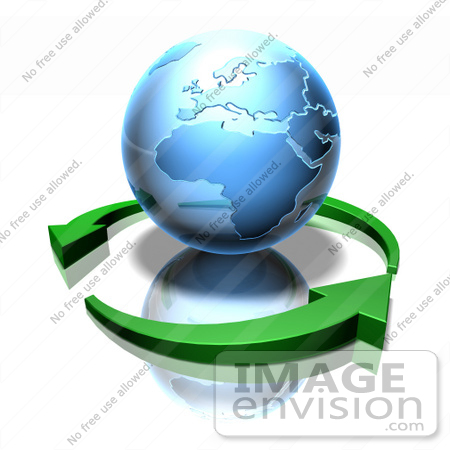 #51630 Royalty-Free (RF) Illustration Of 3d Green Arrows Circling A Blue Globe Featuring Europe And Africa by Julos