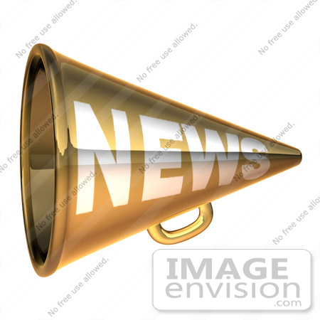 #51636 Royalty-Free (RF) Illustration Of A 3d Gold News Megaphone - Version 4 by Julos