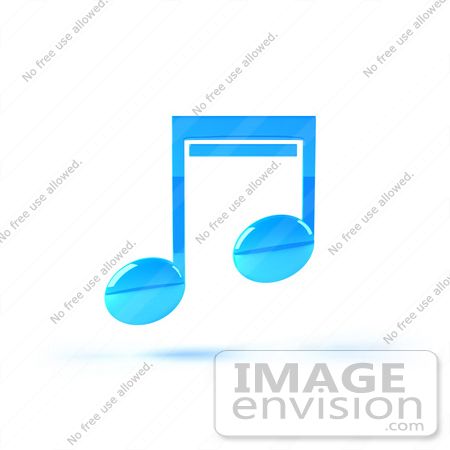 #51661 Royalty-Free (RF) Illustration Of A Neon Blue 3d Music Note - Version 3 by Julos