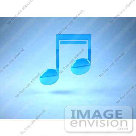 #51680 Royalty-Free (RF) Illustration Of A Neon Blue 3d Music Note - Version 1 by Julos