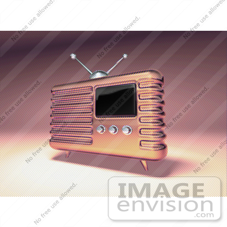 #51689 Royalty-Free (RF) Illustration Of A 3d Pink Retro Radio - Version 2 by Julos