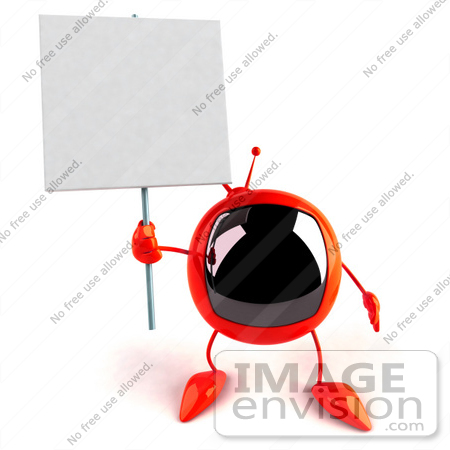 #52564 Royalty-Free (RF) Illustration Of A 3d Red Television Mascot Holding Up A Blank Sign - Version 2 by Julos