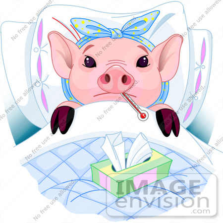 #56147 Clip Art Of An Adorable Pink Piggy Laying In Bed With A Thermometer And Tissues, Sick With The Flu by pushkin