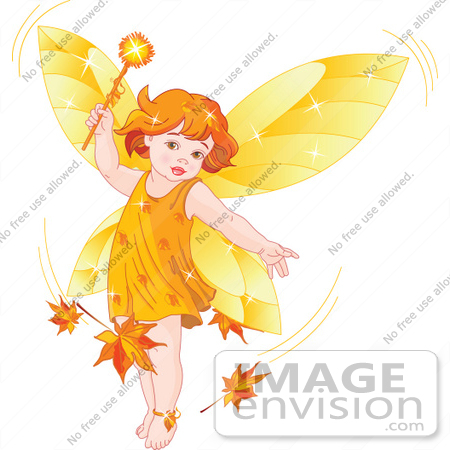 #56153 Royalty-Free (RF) Clipart Illustration Of An Autumn Fairy Child Stirring Up Leaves In A Breeze by pushkin
