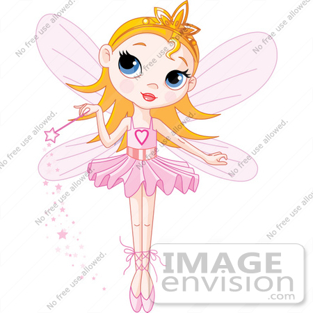 #56167 Royalty-Free (RF) Clip Art Of A Cute Blond Fairy Princess In A Tutu, Holding Her Magic Wand by pushkin