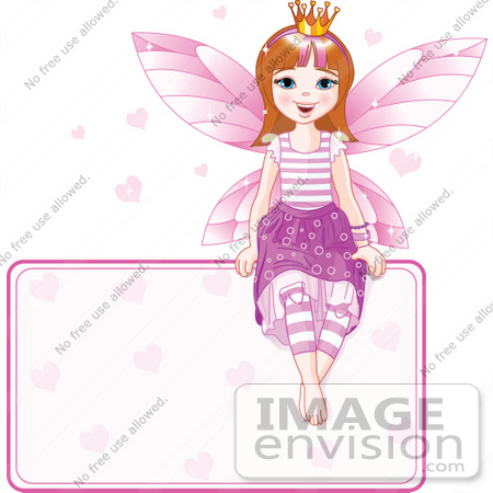 #56168 Royalty-Free (RF) Clip Art Of A Brunette Fairy Princess With Hearts, Sitting On A Blank Sign by pushkin
