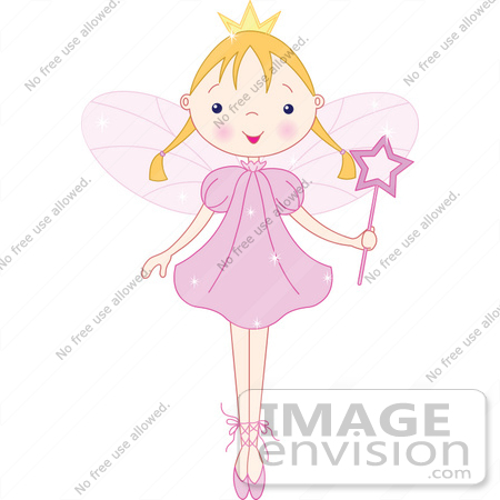 #56170 Royalty-Free (RF) Clip Art Of A Blond Ballet Fairy Princess Standing On Her Tippy Toes by pushkin
