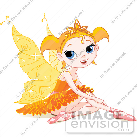 #56173 Royalty-Free (RF) Clip Art Of A  Pretty Little Orange Winged Fairy Girl In Ballet Slippers And A Tutu, Sitting On The Ground by pushkin