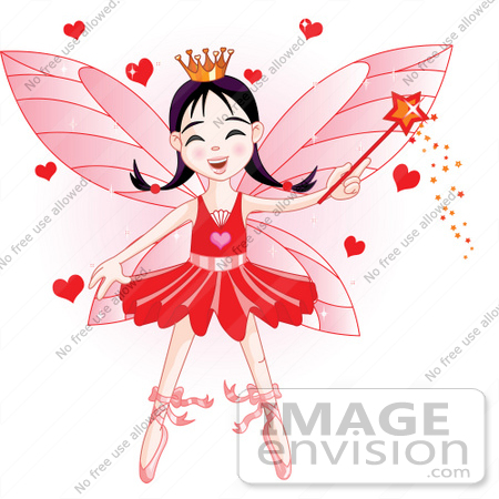 #56174 Royalty-Free (RF) Clip Art Of A Ballerina Fairy Princess In Red, Waving A Magic Wand With Hearts by pushkin