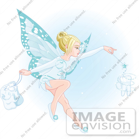 #56179 Royalty-Free (RF) Clip Art Of A Beautiful Blond Fairy With Blue Wings, Making A Magical Tooth by pushkin