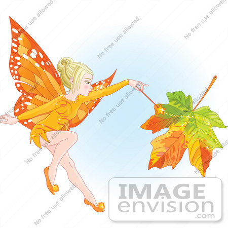 #56181 Royalty-Free (RF) Clip Art Of A Fall Fairy Changing A Leaf To Autumn Colors by pushkin