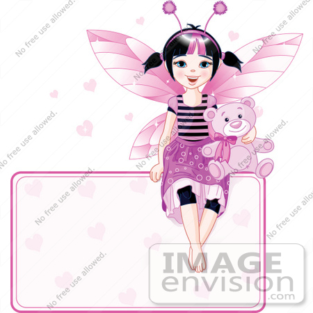 #56183 Royalty-Free (RF) Clip Art Of A Black Haired Fairy Girl With A Teddy Bear, Sitting On Top Of A Heart Sign by pushkin