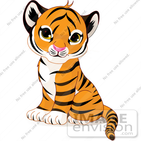 #56184 Royalty-Free (RF) Clip Art of an Adorable Baby Tiger Cub Sitting by pushkin