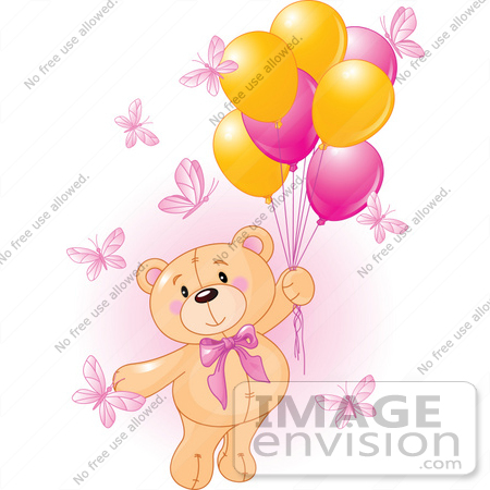 #56185 Royalty-Free (RF) Clip Art Of A Girl Teddy Bear Floating Away With Butterflies And Balloons by pushkin