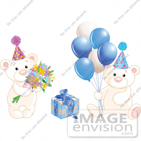 #56186 Royalty-Free (RF) Clip Art Of A Digital Collage Of Birthday Teddy Bears With Blue Balloons, Flowers And A Present by pushkin
