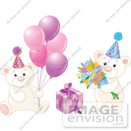 #56190 Royalty-Free (RF) Clip Art Of A Digital Collage Of Birthday Teddy Bears With Pink Balloons, Flowers And A Present by pushkin