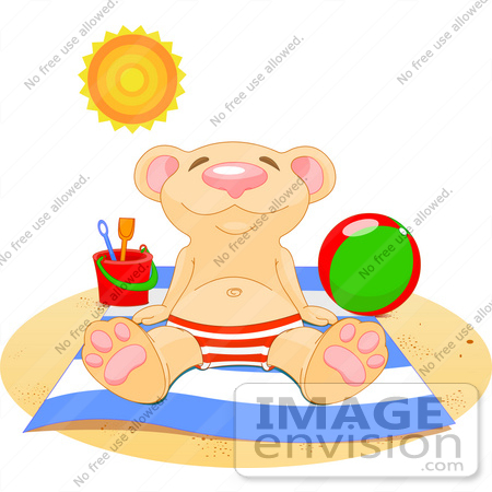 #56192 Clip Art Of A Relaxed Bear Soaking Up The Sun On A Beach by pushkin