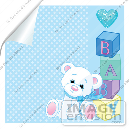#56193 Royalty-Free (RF) Clip Art Of A White Teddy Bear Leaning Against Baby Blocks On A Peeling Blue Background by pushkin