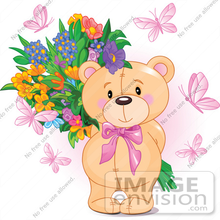 #56197 Royalty-Free (RF) Clip Art Of Pink Butterflies Surrounding A Sweet Teddy Bear Holding A Floral Bouquet Behind Its Back by pushkin