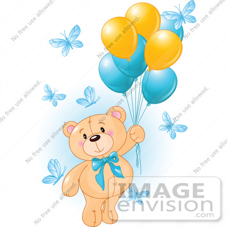 56199 Royalty-Free (RF) Clip Art Of A Boy Teddy Bear Floating Away ...