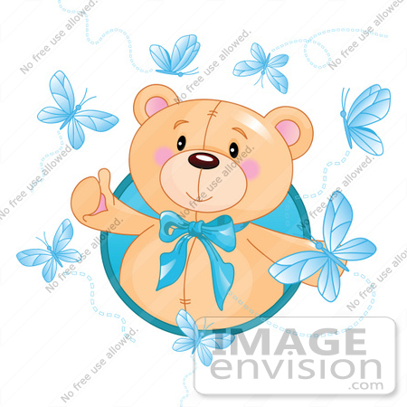 #56200 Royalty-Free (RF) Clip Art Of A Happy Bear Surrounded By Blue Butterflies by pushkin