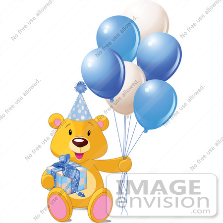 #56201 Royalty-Free (RF) Clip Art Of A Teddy Bear With A Gift, Party Hat And Blue Balloons by pushkin