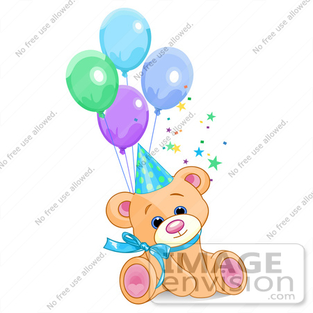 #56202 Clip Art Of A Cute Male Birthday Bear Wearing A Party Hat And Sitting With Balloons by pushkin