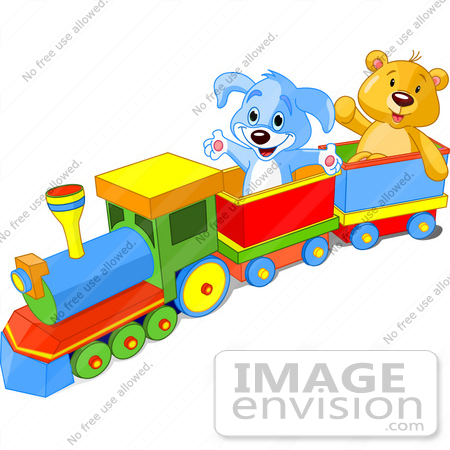 #56203 Clip Art Of A Happy Blue Puppy And Friendly Teddy Bear Enjoying A Train Ride by pushkin