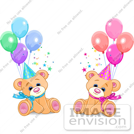 #56204 Clip Art Of Male And Female Twin Birthday Bears Wearing Party Hats And Sitting With Balloons by pushkin