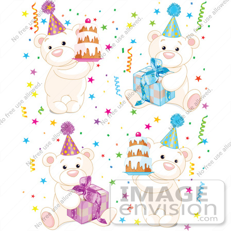 #56206 Royalty-Free (RF) Clip Art Of A Digital Collage Of Birthday Polar Bears With Cakes, Presents And Confetti by pushkin