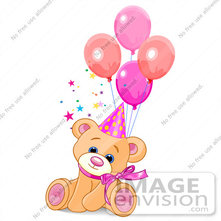 #56210 Clip Art Of A Cute Feale Birthday Bear Wearing A Party Hat And Sitting With Balloons by pushkin