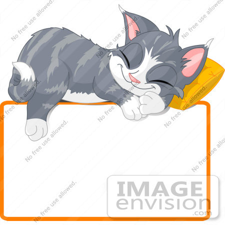 #56214 Clip Art Illustration Of An Adorable Gray Kitten Napping On A Pillow Over A Blank Text Box by pushkin
