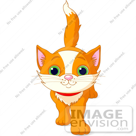 #56222 Clip Art Illustration Of A Cute And Curious Orange Kitten Walking Forward by pushkin