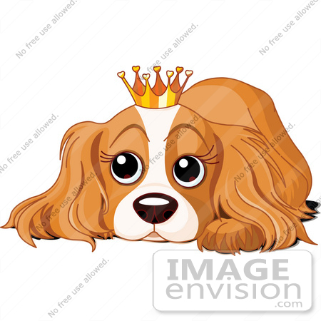 #56243 Royalty-Free (RF) Clip Art Of A Spoiled Cocker Spaniel Puppy Wearing A Crown by pushkin