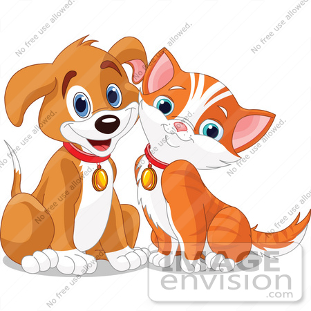 #56246 Clipart Illustration Of A Happy Brown Puppy And Orange Kitten Resting Their Cheeks Together by pushkin