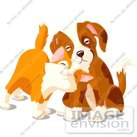 #56249 Clipart Illustration Of A Cute Orange Kitten Rubbing Against A Sad Puppy by pushkin