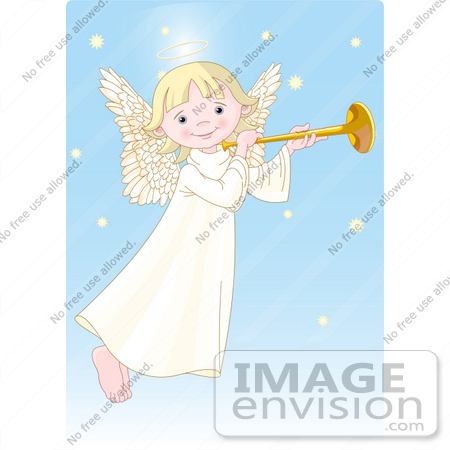 #56265 Clip Art Of A Cute, Innocent, Blond Femal Angel With A Halo, Playing A Horn by pushkin