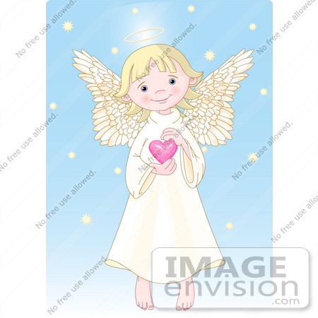 #56267 Clip Art Of A Cute, Innocent, Blond Femal Angel With A Halo, Holding A Pink Heart by pushkin