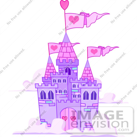 Clip Art Illustration Of A Purple Castle With Pink Turrets And Heart