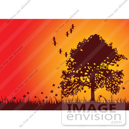 #56272 Royalty-Free (RF) Clip Art Fall Tree Silhouetted Against An Orange Sunset, With Falling Leaves And Flying Birds by pushkin