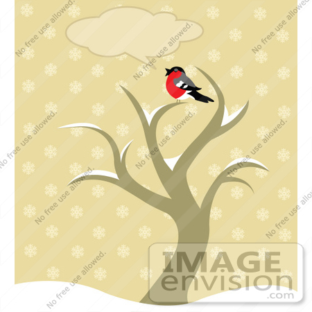 #56277 Royalty-Free (RF) Clip Art Chatty Robin Bird Sitting On Top Of A Winter Tree With A Text Balloon by pushkin