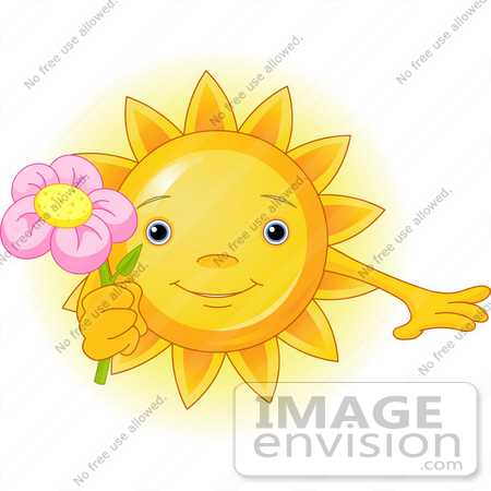 #56283 Clip Art Illustration Of A Cute Sun Character Holding A Pink Flower by pushkin