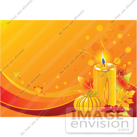 #56286 Royalty-Free (RF) Clip Art Illustration Of A Lit Candle With Berries, Leaves And A Pumpkin On An Orange Thanksgiving Background by pushkin