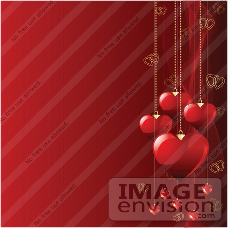 #56291 Royalty-Free (RF) Clip Art Illustration Of A Red Square Valentines Day Background Of Heart Pendants And Mesh Waves by pushkin