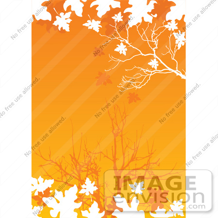 #56297 Royalty-Free (RF) Clip Art Illustration Of White Silhouetted Autumn Leaves And Branches Over An Orange Background by pushkin