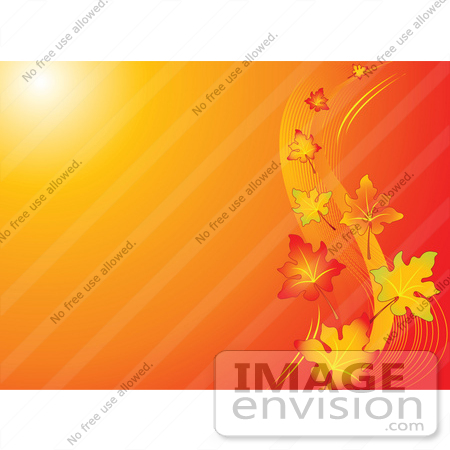 #56299 Royalty-Free (RF) Clip Art Illustration Of A Gradient Orange Background With Sunlight And Autumn Leaves Floating In The Breeze by pushkin