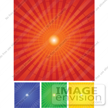 #56310 Royalty-Free (RF) Clip Art Illustration Of A Digital Collage Of Red, Blue, Green And Yellow Radial Burst Backgrounds by pushkin