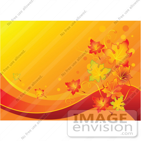 #56311 Royalty-Free (RF) Clip Art Illustration Of A Gradient Orange Autumn Leaf Background With Red Swooshes by pushkin