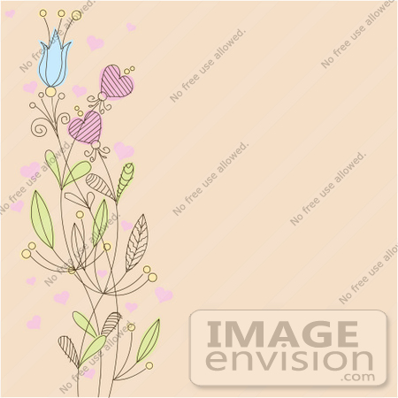 #56317 Royalty-Free (RF) Clip Art Illustration Of A Beige Background With A Left Border Of Flowers And Hearts by pushkin